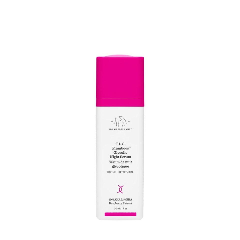 <p>The <span>Drunk Elephant T.L.C. Framboos Glycolic Night Serum</span> ($90) is a resurfacing AHA serum that helps clear congested pores and reduces the appearance of acne marks and uneven texture.</p>