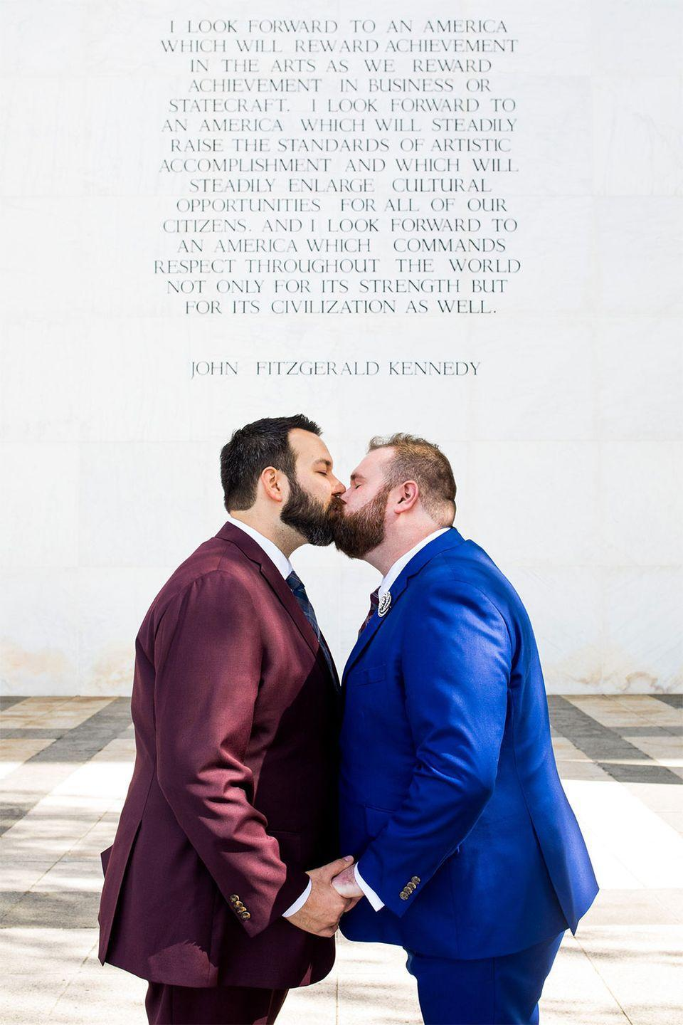 <p>Gregory and Cooper met while performing in the Gay Men's Chorus of Washington, which made doing their wedding day photo shoot on the plaza of the Kennedy Center, an obvious choice.</p>