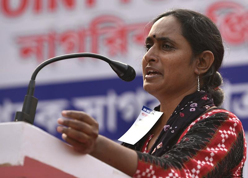KOLKATA, INDIA - DECEMBER 9: Secretary of the All India Progressive Women's Association Kavita Krishnan speaks at a rally against National Register of Citizens (NRC) under the banner of the Joint Forum Against NRC at Esplanade on December 9, 2019 in Kolkata, India. (Photo by Samir Jana/Hindustan Times via Getty Images)