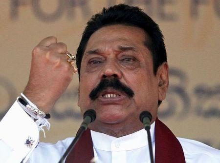 Sri Lanka's former president Rajapaksa, who is contesting in the upcoming general election, speaks during the launch ceremony of his manifesto, in Colombo
