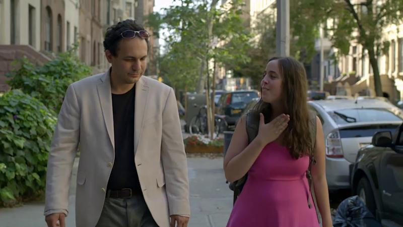 """Screenshot from """"Keep the Change"""" featuring two autistic people on a date."""
