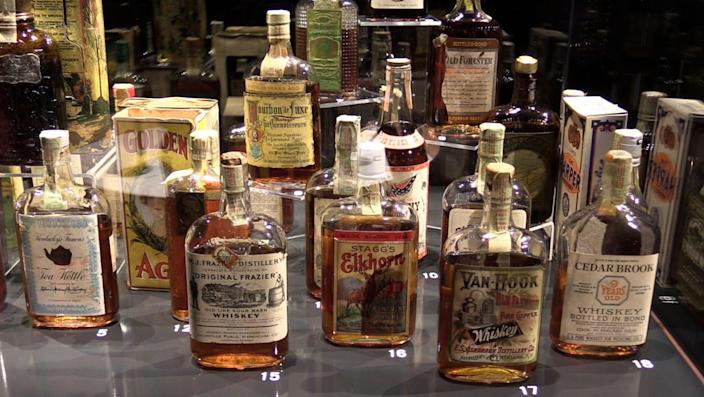 A collection of bourbon on display at the Frazier History Museum. Aug. 23, 2018