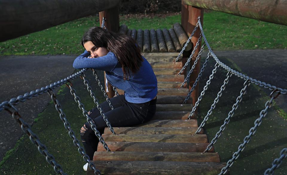 PICTURE POSED BY MODEL of a teenage girl in a park showing signs of mental health issues. PA Photo. Picture date: Sunday February 2, 2020. Photo credit should read: Gareth Fuller/PA Wire (Photo by Gareth Fuller/PA Images via Getty Images)