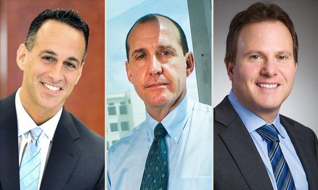 South Florida bankruptcy lawyers Glenn Moses of Genovese, Joblove & Battista, Joel Tabas of Tabas Soloff and Michael Budwick of Meland, Russin & Budwick. Courtesy photos.