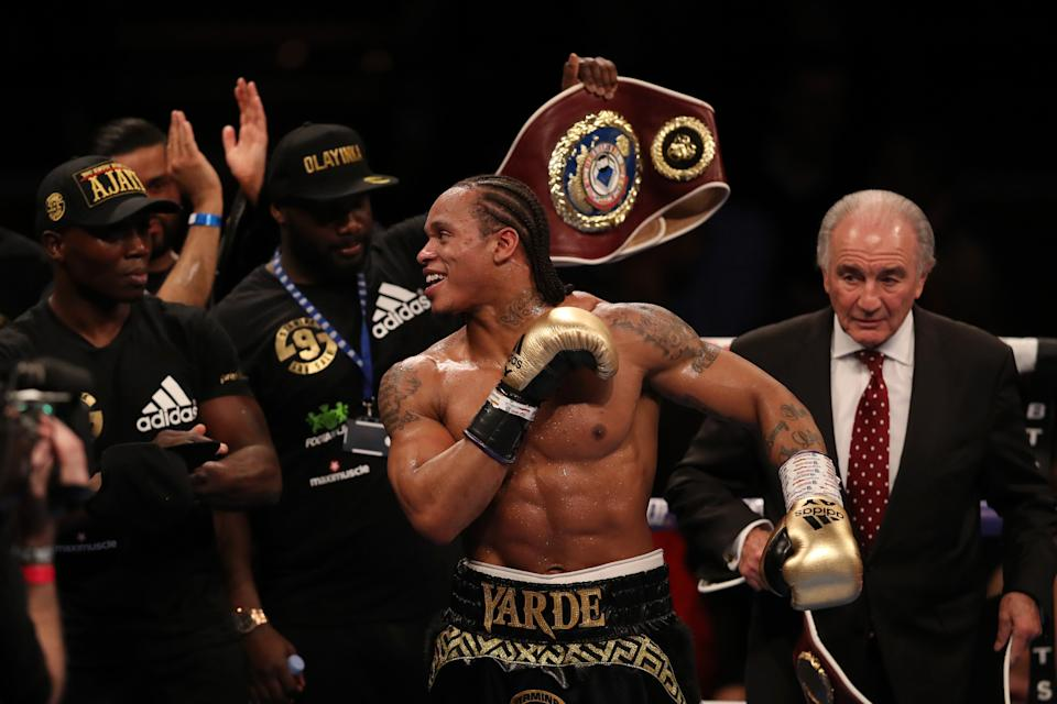 Yarde celebrates his TKO win over Travis ReevesGetty Images