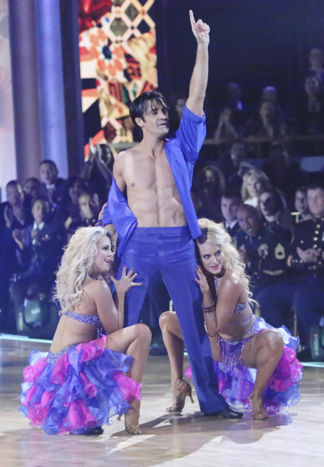 "Chelsie Hightower, Gilles Marini and Peta Murgatroyd perform on ""Dancing With the Stars: All-Stars."""