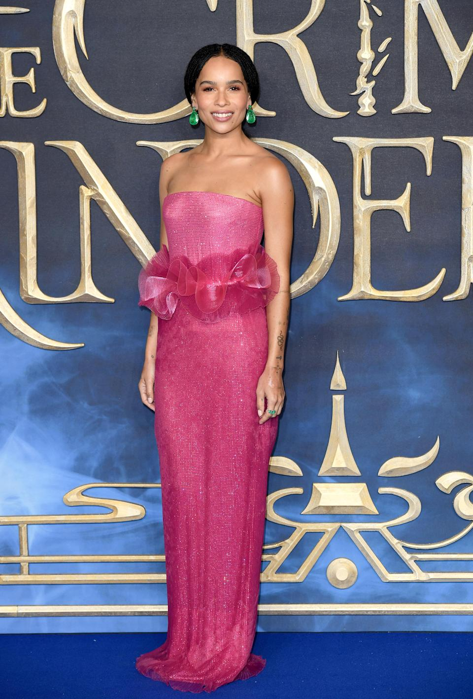 <p>The actress chose a cold-shoulder Giorgio Armani Privé gown accessorised with bespoke Sophia Webster shoes. <em>[Photo: Getty]</em> </p>