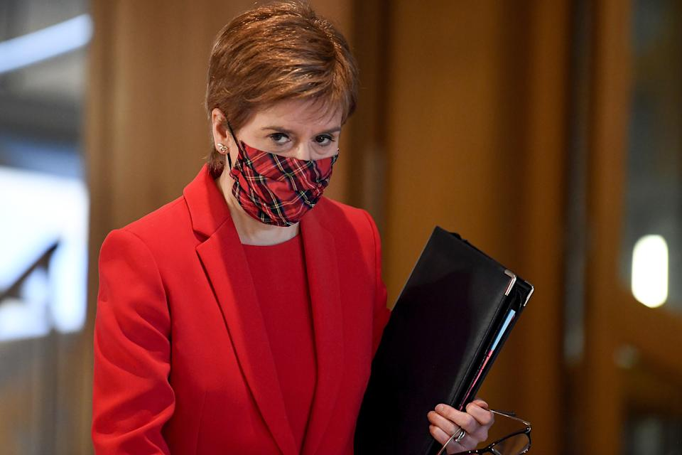 First Minister Nicola Sturgeon arrives to attend the debate at the Scottish Parliament in Edinburgh, on the trade and co-operation agreement between the United Kingdom and the European Union.