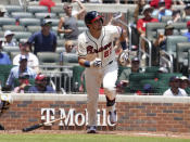 Atlanta Braves Austin Riley watches his two-run home run against the Pittsburgh Pirates in the third inning of a baseball game Sunday, May 23, 2021 in Atlanta. (AP Photo/Tami Chappel)