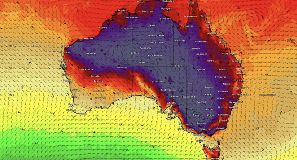 In addition to the brutal heat, a severe weather warning for damaging winds has also been issued for parts of the southeast coast. Image: Weatherzone
