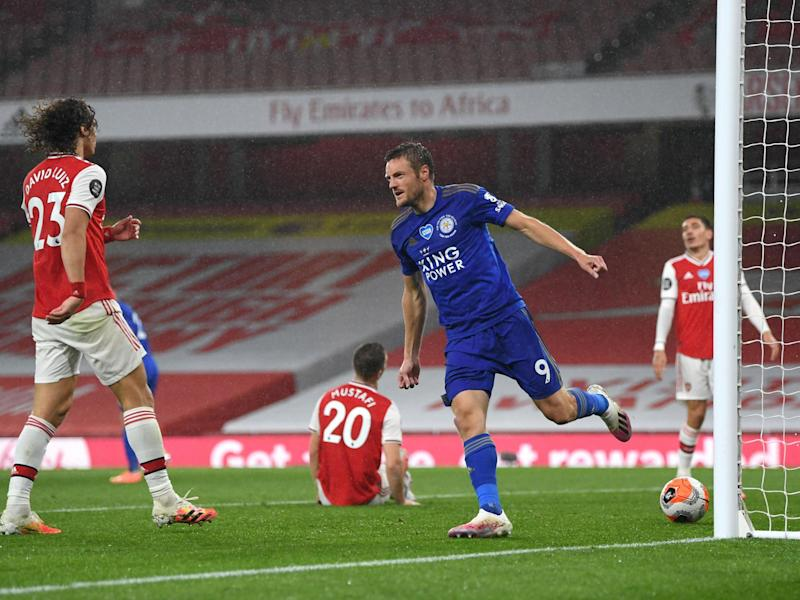 Vardy celebrates equalising for Leicester: Getty