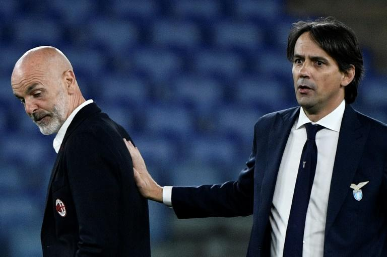 Simone Inzaghi (R) will be facing off against Stefano Pioli (L) in this season's Milan derbies
