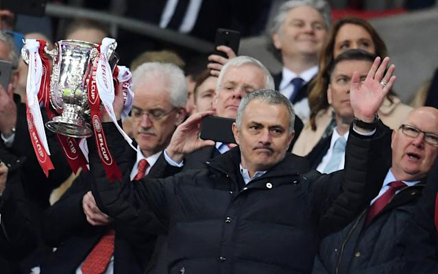 <span>Jose Mourinho insists he is happy at Old Trafford</span> <span>Credit: EPA </span>