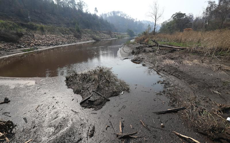 Bushfire silt clogs the usually pristine Tambo river beside the Great Alpine road in the Victorian high country. Source: AAP Image/David Crosling