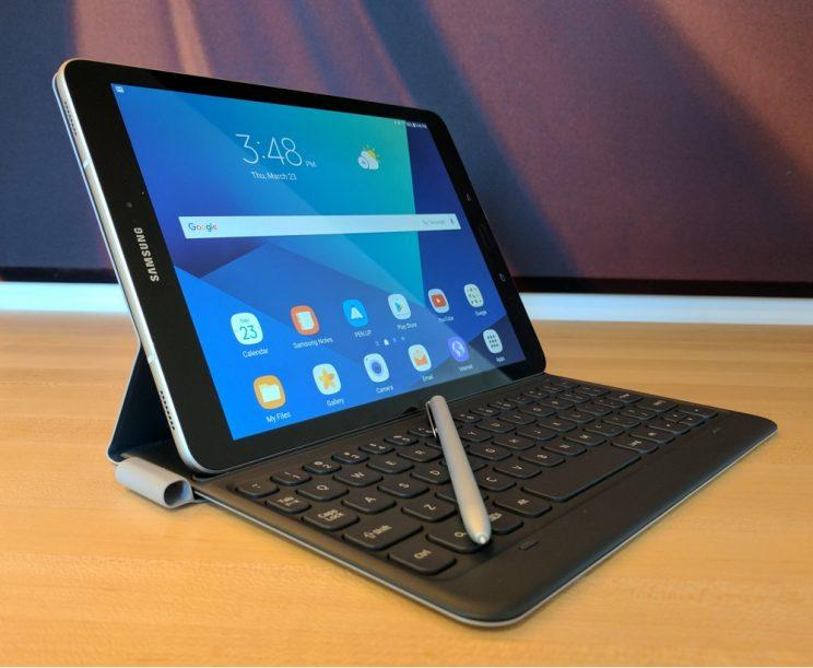 Samsung Galaxy Tab S3 with keyboard and stylus.
