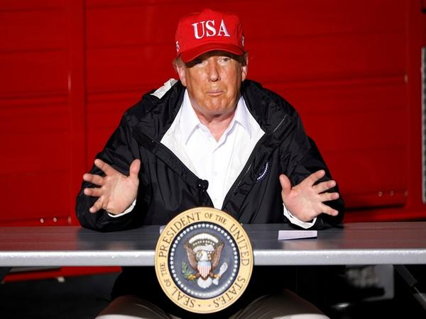 U.S. President Donald Trump gestures during a briefing at Lake Charles Fire House as he visits nearby areas damaged by Hurricane Laura in Lake Charles, Louisiana, U.S.