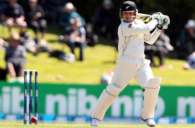 DUNEDIN, NEW ZEALAND - DECEMBER 03: Brendon McCullum of New Zealand bats during day one of the first test match between New Zealand and the West Indies at University Oval on December 3, 2013 in Dunedin, New Zealand. (Photo by Rob Jefferies/Getty Images)