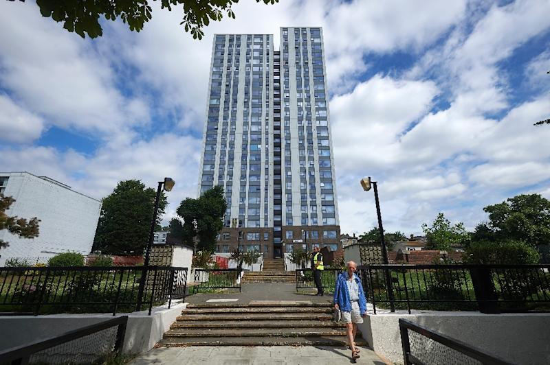 The Dorney residential tower on the Chalcots Estate in north London is one of five towers where officials have promised to remove the cladding (AFP Photo/NIKLAS HALLE'N)