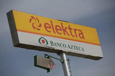 The sign of a store of banking and retail company Elektra is pictured  in Ciudad Juarez, Mexico, April 11, 2017. REUTERS/Jose Luis Gonzalez
