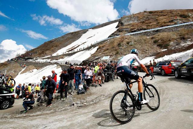 "<span class=""element-image__caption"">Froome climbs the Finestre.</span> <span class=""element-image__credit"">Photograph: Luca Bettini/AFP/Getty Images</span>"