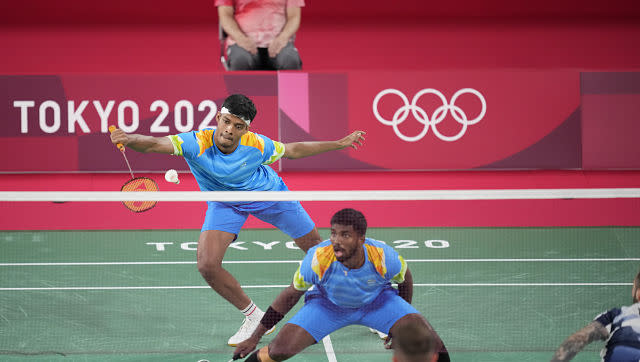The Indian men's doubles pair of Satwiksairaj Rankireddy and Chirag Shetty beat the British pair of Ben Lane and Sean Vendy 21-17, 21-19 in their Group A badminton game, but that wasn't enough for them to go into the next round, enduring a third place finish. AP