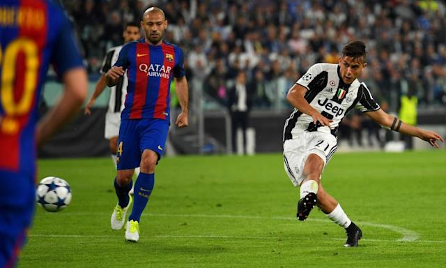 "<span class=""element-image__caption"">Paulo Dybala fires home Juventus's second goal rendering Javier Mascherano of Barcelona a mere spectator.</span> <span class=""element-image__credit"">Photograph: Mike Hewitt/Getty Images</span>"