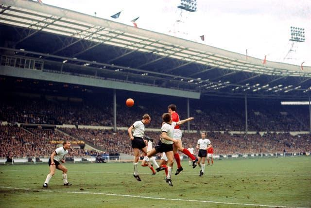Geoff Hurst scores in the final at Wembley