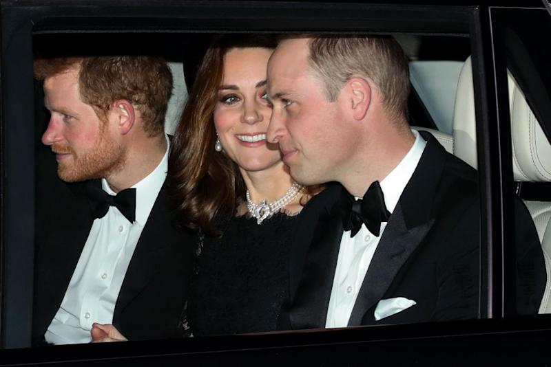 Prince William, Prince Harry and Kate Middleton pictured on their way to celebrate the Queen and Prince Philip's 70th wedding anniversary at Windsor Castle. Photo: Getty Images