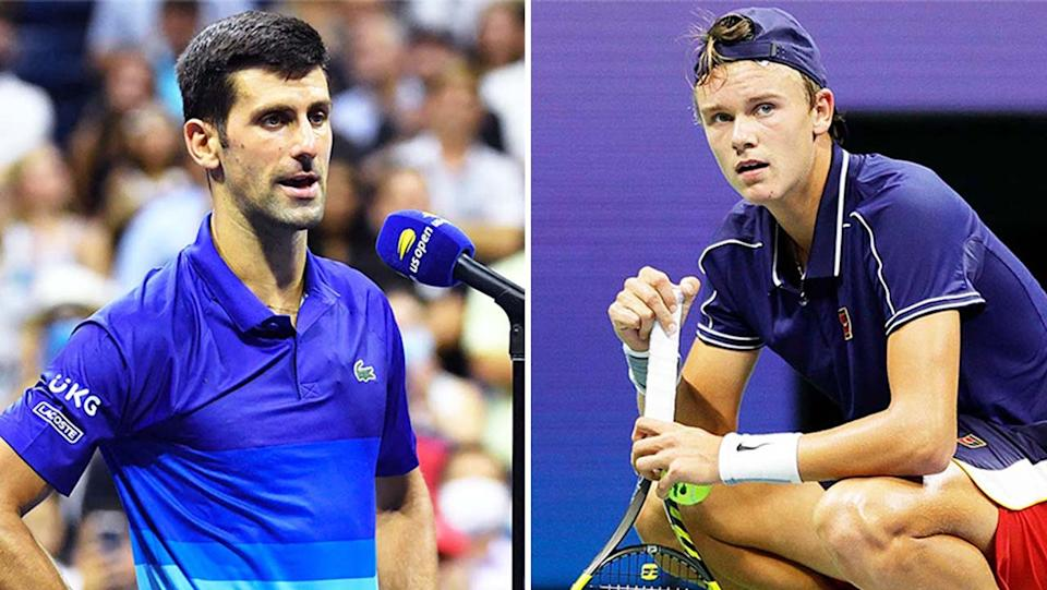 Novak Djokvovic (pictured left) talking after his US Open win and Holger Rune (pictured right) suffering with cramp.