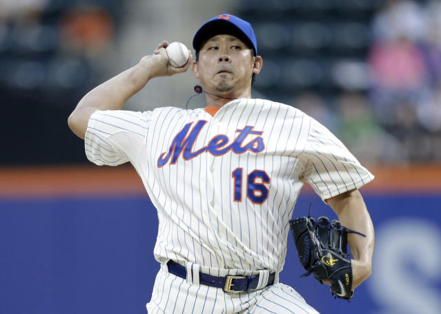New York Mets' Daisuke Matsuzaka, of Japan, delivers a pitch during the first inning of a baseball game against the Milwaukee Brewers, Tuesday, June 10, 2014, in New York. (AP Photo/Frank Franklin II)