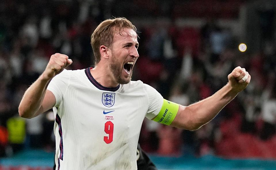 Harry Kane celebrates after scoring the go-ahead goal in England's 2-1 win over Denmark in the Euro 2020 semifinals at Wembley Stadium.