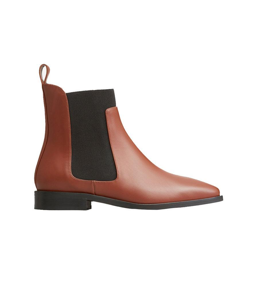 """<p>In a rich cedar shade, Everlane's Chelsea boots are made of real Italian leather and feature a square toe and easy slip-on tab. Pair them with white jeans for the weekend or a black suit for the office, and you'll be ready for anything.<br><a href=""""https://fave.co/2zuHjfz"""" rel=""""nofollow noopener"""" target=""""_blank"""" data-ylk=""""slk:Shop it:"""" class=""""link rapid-noclick-resp"""">Shop it:</a> Square Toe Chelsea Boot, $225, <a href=""""https://fave.co/2zuHjfz"""" rel=""""nofollow noopener"""" target=""""_blank"""" data-ylk=""""slk:everlane.com"""" class=""""link rapid-noclick-resp"""">everlane.com</a> </p>"""