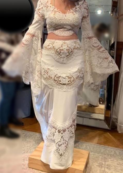 Image of lace wedding dress bohemia two piece compared to 'table cloth' 'lace doily' exposes underwear