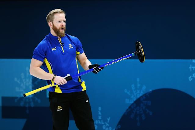 <p>Niklas Edin of Sweden competes in the Curling Men's Round Robin Session 4 held at Gangneung Curling Centre on February 16, 2018 in Gangneung, South Korea. </p>