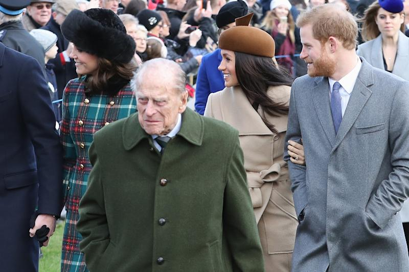 Prince Philip, Prince Harry, Kate Middleton and Meghan Markle on Christmas Day
