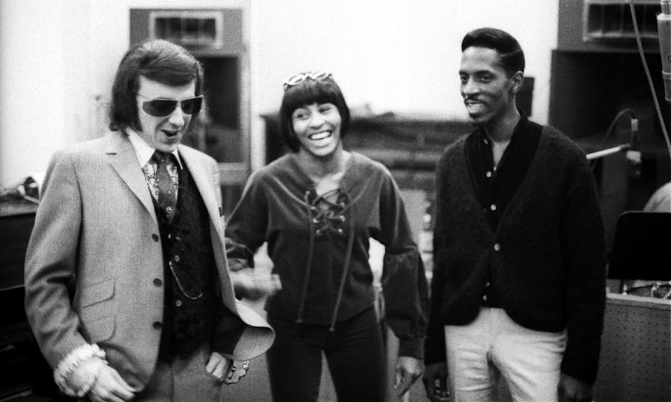 Phil Spector, left, with Ike and Tina Turner while recording in Los Angeles at Gold Star Studios in 1966.