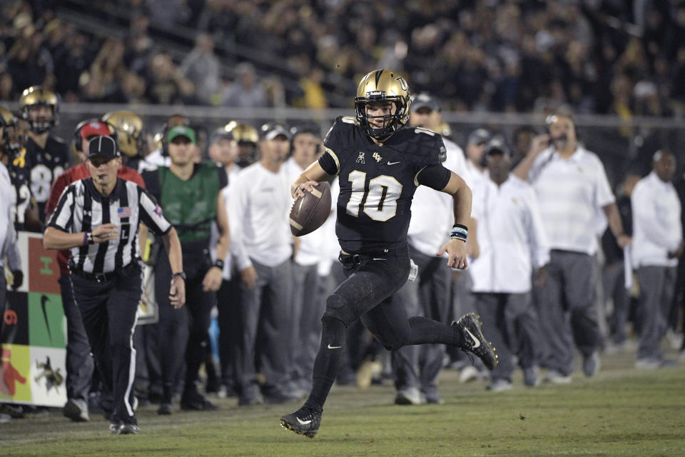 McKenzie Milton (10) aims to rehab until he gets back to the Heisman-contending quarterback that he was during the 2018 season. (AP)