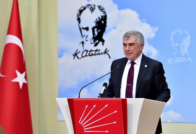 "Unal Cevikoz, deputy chairman of Turkey's main opposition Republican People's Party, CHP, speaks to the media after a meeting with Foreign Minister Mevlut Cavusoglu, in Ankara, Turkey, Monday, Dec. 30, 2019. The CHP said Monday it does not support the government's plans to deploy troops to Libya, saying the move would embroil Turkey in another conflict and make it a party to the ""shedding of Muslims."" (AP Photo)"