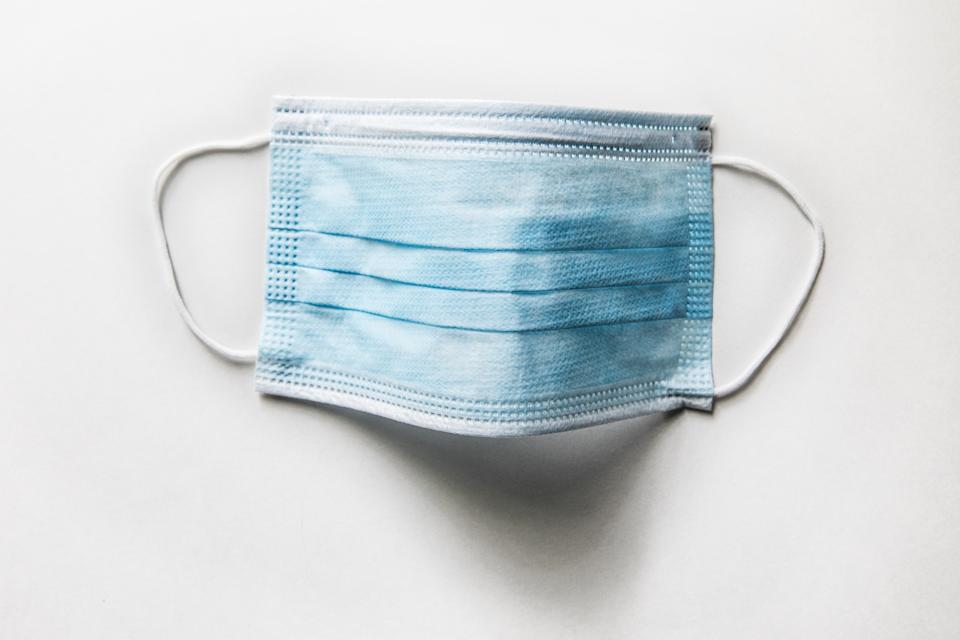 A surgical mask.