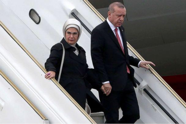 PHOTO: President of Turkey Recep Tayyip Erdogan and first lady Emine Erdogan get off a plane on their arrival to Buenos Aires for G20 Leaders' Summit 2018 at Ministro Pistarini International Airport, Nov. 29, 2018. (Daniel Jayo/Getty Images)