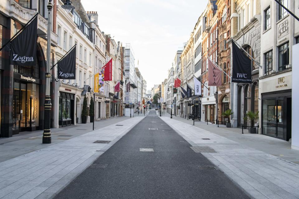 An empty New Bond Street during the Coronavirus outbreak, Mayfair, London. Picture date: Saturday 9th May 2020. Photo credit should read: David Jensen/EMPICS Entertainment