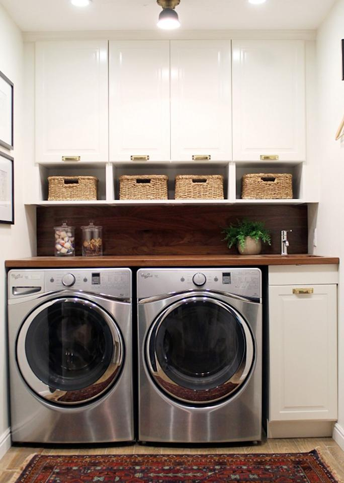 """Doing<a rel=""""nofollow"""" href=""""http://www.chrislovesjulia.com/2015/07/before-and-after-a-bathroom-turned-laundry-room.html"""">laundry</a>is more fun when you're not stuck in a dingy corner."""