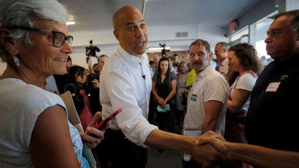 PHOTO: Democratic 2020 U.S. presidential candidate and U.S. Sen. Cory Booker, D-N.J., arrives for a campaign stop in Manchester, N.H., on Saturday, July 13, 2019. (Brian Snyder/Reuters)
