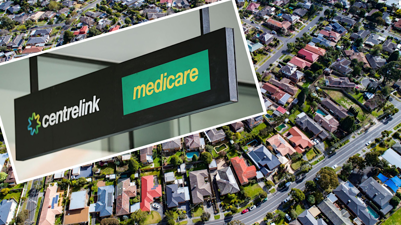 Pictured: Centrelink centre and Melbourne houses. Images: Getty