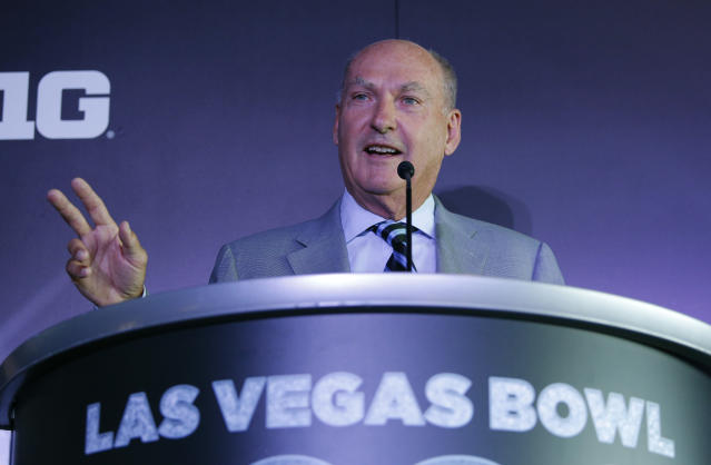 Big Ten Commissioner Jim Delany speaks during a news conference to announce changes to the Las Vegas Bowl football game, Tuesday, June 4, 2019, in Las Vegas. The Las Vegas Bowl is moving to a new, bigger stadium next year, and will feature teams from the SEC or Big Ten conferences against a Pac-12 contender. (AP Photo/John Locher)