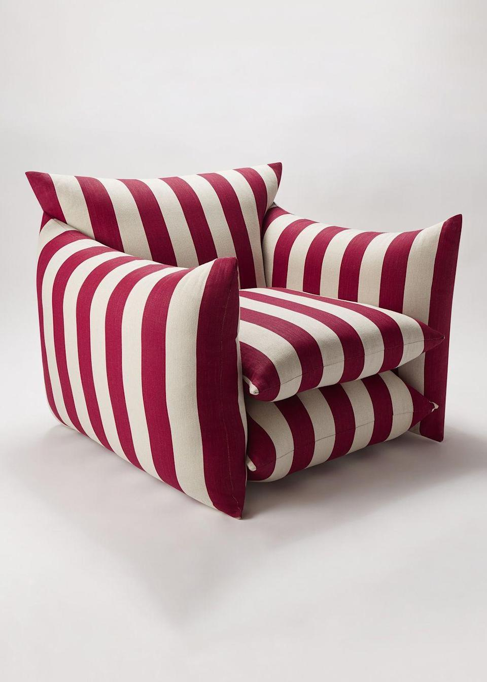 """<p>London creative firm Buchanan Studio's first foray into furniture is the 'Studio Chair'. Combining craftsmanship, comfort and dashing stripes, which come in 'Ruby' (pictured), 'Indigo' and 'Rose', it's a confident debut and a taste of things to come. £2,394, <a href=""""https://buchanan.studio/"""" rel=""""nofollow noopener"""" target=""""_blank"""" data-ylk=""""slk:buchanan.studio"""" class=""""link rapid-noclick-resp"""">buchanan.studio</a></p>"""