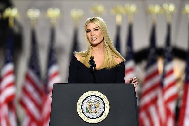 Ivanka Trump, daughter and Advisor to the US president, speaks during the final day of the Republican National Convention from the South Lawn of the White House on August 27, 2020 in Washington, DC. (Photo by Brendan Smialowski / AFP) (Photo by BRENDAN SMIALOWSKI/AFP via Getty Images) (Photo: BRENDAN SMIALOWSKI via Getty Images)