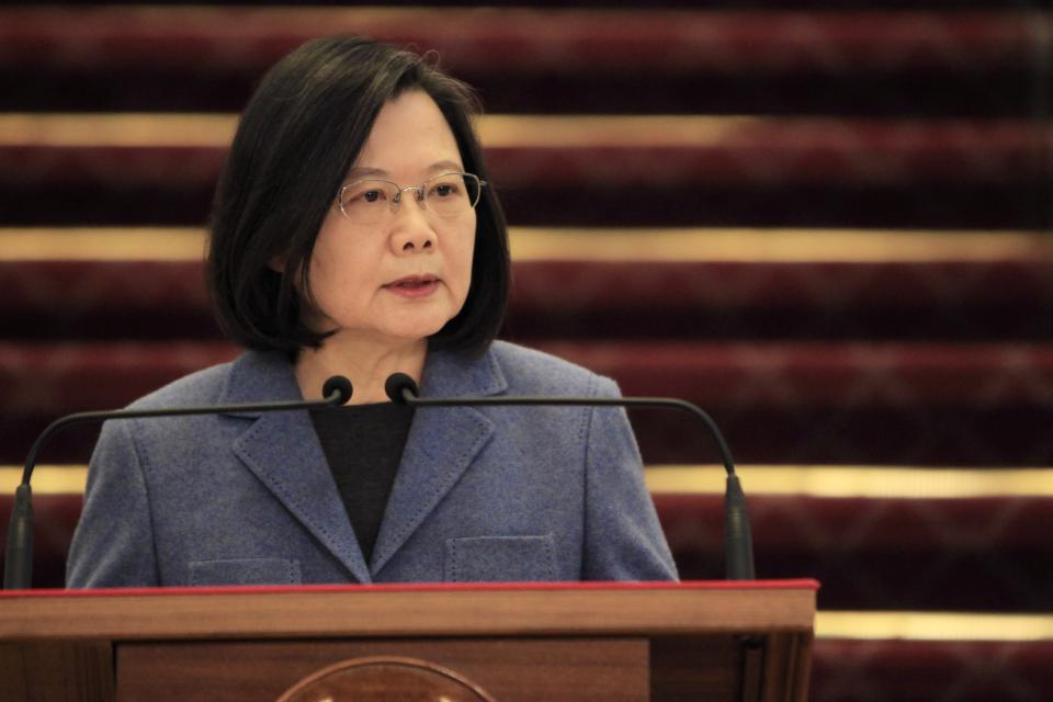 Taiwan president Tsai Ing-wen delivers a New Year's Talk at the Office of The President, in Taipei, Taiwan, on 1 January. Photo: Ceng Shou Yi/NurPhoto via Getty