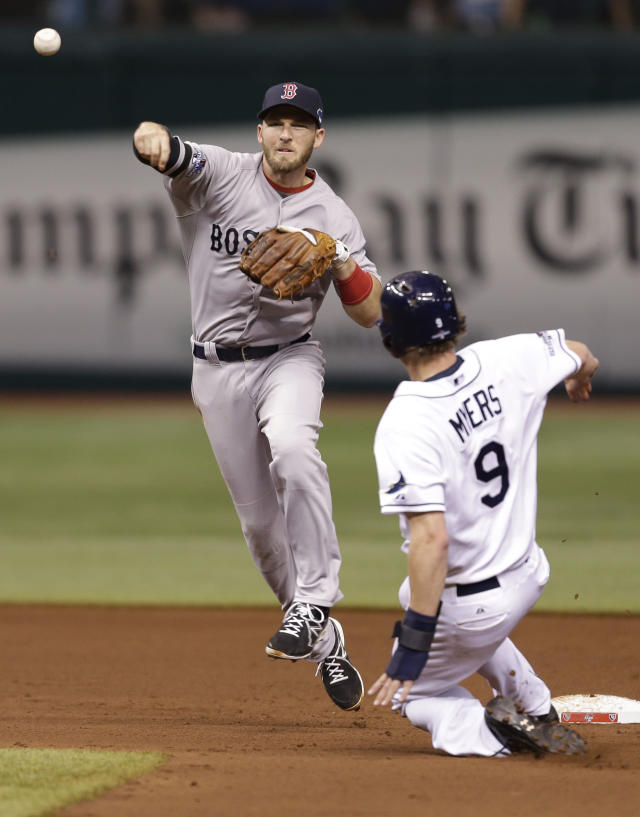 Boston Red Sox shortstop Stephen Drew throws to first base for the double play after forcing out Tampa Bay Rays Wil Myers (9) out in the fourth inning in Game 4 of an American League baseball division series, Tuesday, Oct. 8, 2013, in St. Petersburg, Fla. James Loney was out at first. (AP Photo/Chris O'Meara)