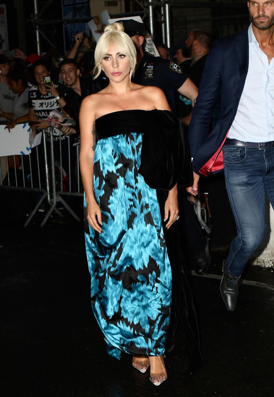 <p>Lady Gaga wore a floor-length Marc Jacobs gown while out and about in New York. <i>[Photo: Getty]</i> </p>